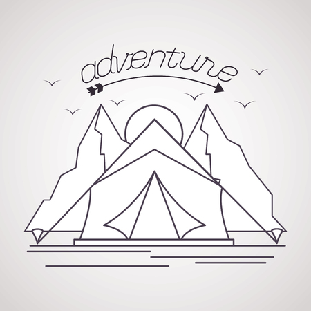 mountains sun tent adventure wanderlust vector illustration