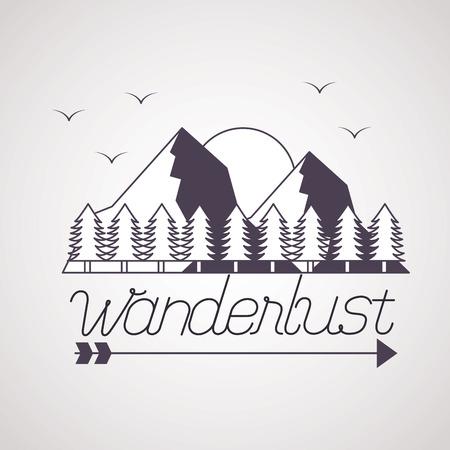 sun birds mountains pine trees wanderlust vector illustration