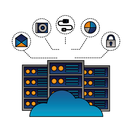 cloud computing database center connection vector illustration