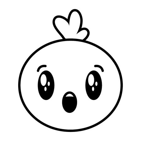 kawaii face bubble cartoon on white background vector illustration Illustration