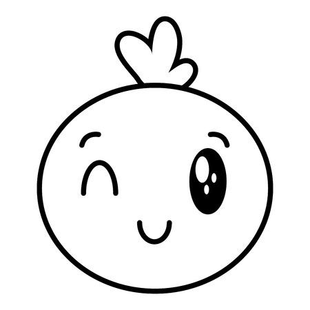 kawaii face bubble cartoon on white background vector illustration Stock Illustratie