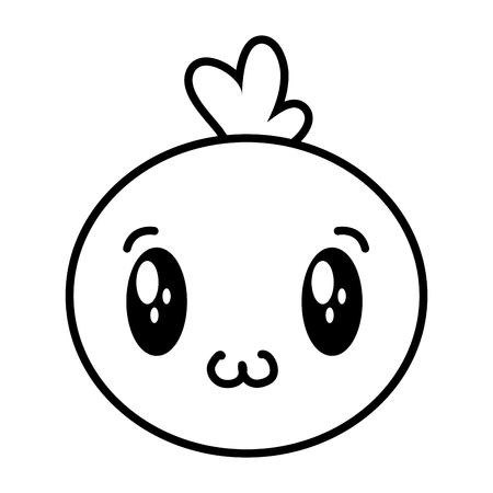 kawaii face bubble cartoon on white background vector illustration Ilustrace