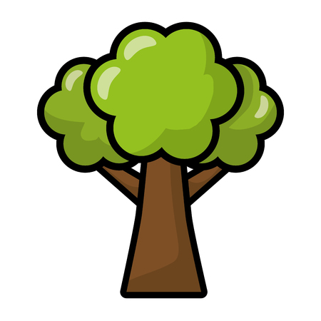 tree forest nature on white background vector illustration