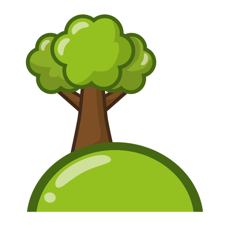 tree hill natural on white background vector illustration 向量圖像