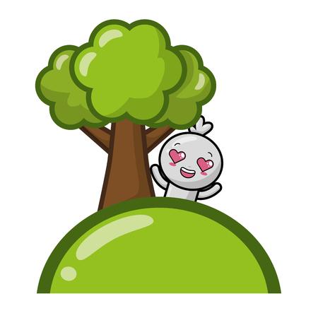 cartoon doll love tree vector illustration Illustration
