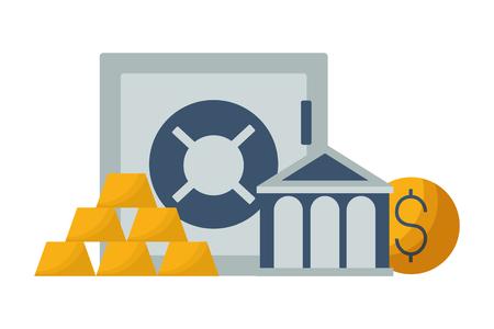 bank save box gold bars and money