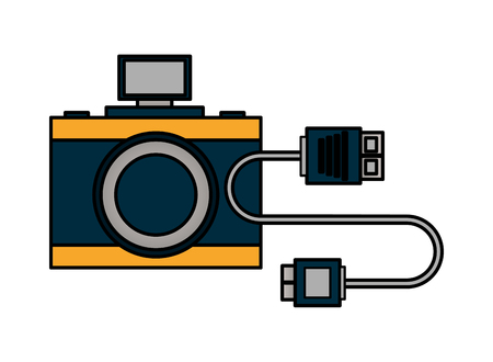 photography camera and connector cable vector illustration