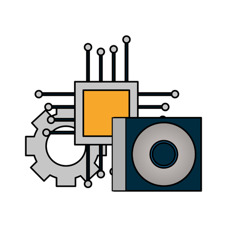 motherboard circuit compact disk setting vector illustration
