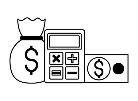 money bag calculator banknote stock vector illustration