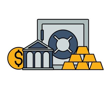 bank save box gold bars and money Foto de archivo - 125647701
