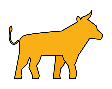 yellow bull symbol on white background vector illustration