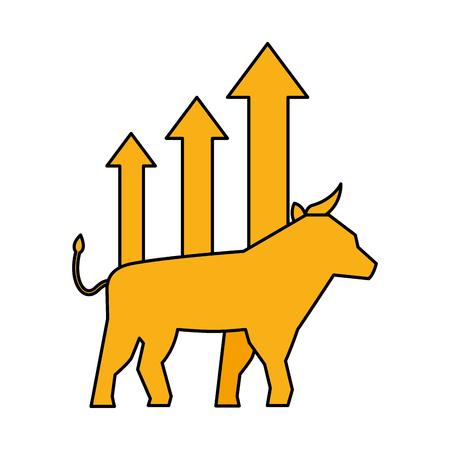 Bull-Chart-Wachstum Aktienmarkt-Vektor-Illustration
