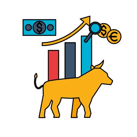bull chart coins banknote money stock maket vector illustration