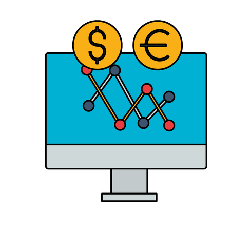 computer chart exchange stock market vector illustration Çizim