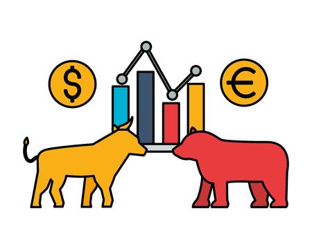 bull and bear chart exchange stock market vector illustration