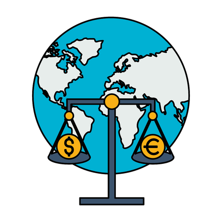 world scale money stock market vector illustration