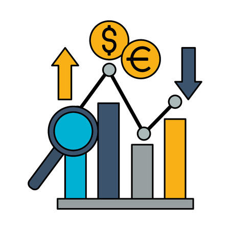 business report dollar euro upward downward vector illustration 向量圖像
