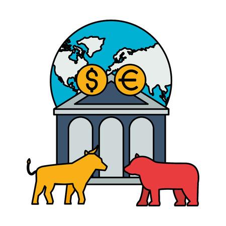 world bank bull bear dollar euro stock market vector illustration Illustration