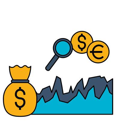 money bag diagram exchange stock market vector illustration Foto de archivo - 125647737