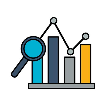 chart magnifying glass stock market vector illustration Illusztráció