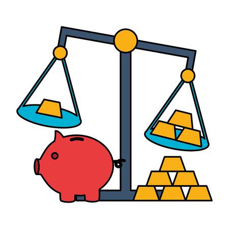 piggy bank gold bars scale stock market vector illustration 写真素材 - 125647747