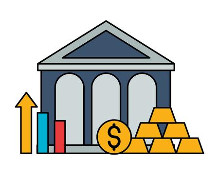 bank money gold bars chart stock market vector illustration Foto de archivo - 125647748