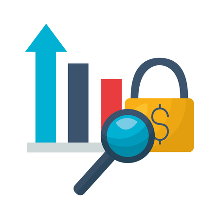 market chart magnifying glass security vector illustration Illustration
