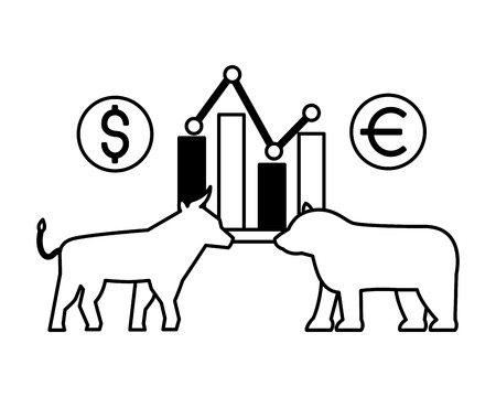 bull and bear chart exchange stock market vector illustration
