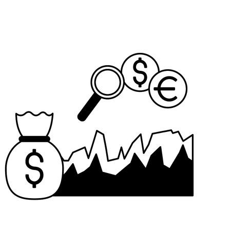 money bag diagram exchange stock market vector illustration