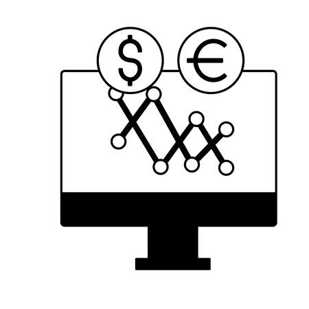 computer chart exchange stock market vector illustration Illustration