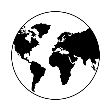 world globe map on white background vector illustration
