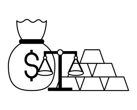 money bag gold bars scale vector illustration Ilustração