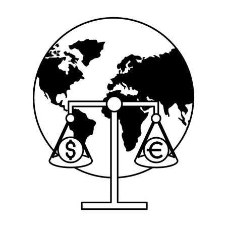world scale money stock market vector illustration