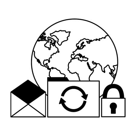 world folder file reload email security vector illustration