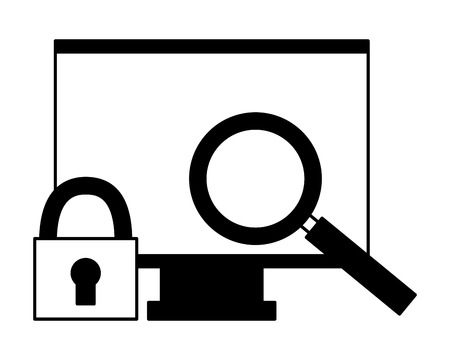 computer monitor magnifying glass security vector illustration