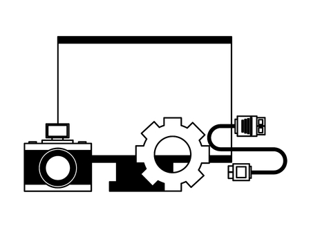 computer monitor camera gear cable connector vector illustration Ilustração