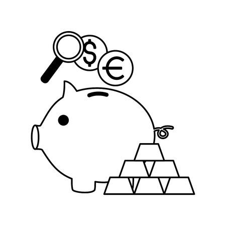 piggy bank gold bars euro dollar vector illustration