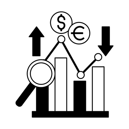 business report dollar euro upward downward vector illustration Illusztráció