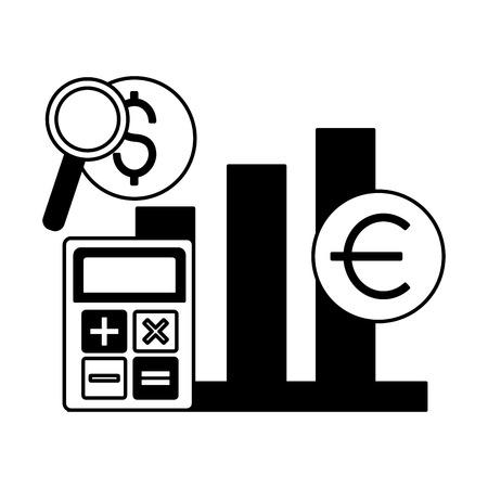 stock market calculator chart growth vector illustration