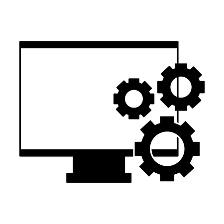computer monitor gears white background vector illustration