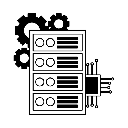 computer case motherboard circuit gears vector illustration