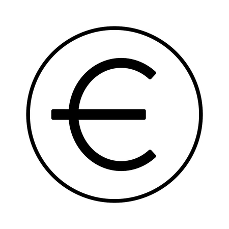 euro money symbol on white background vector illustration