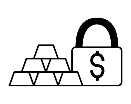 stacked gold bars money security vector illustration