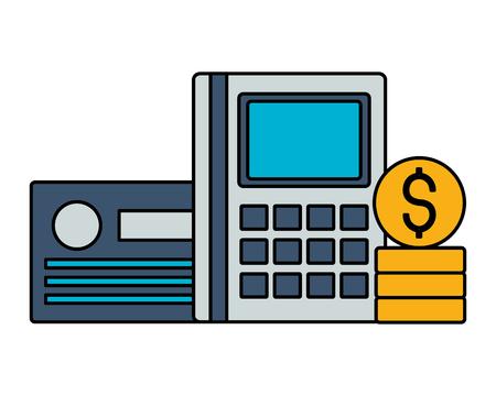 calculator bank card and money vector illustration