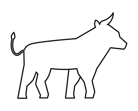 bull silhouette symbol on white background vector illustration