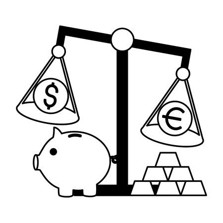 piggy bank scale euro dollar gold bars stock market vector illustration Illustration