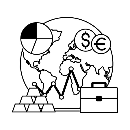 world stock market money suitcase business vector illustration