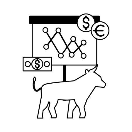 bull stock market money dollar euro vector illustration