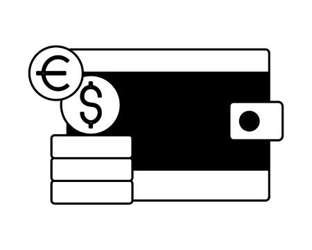 wallet money dollar euro coins vector illustration