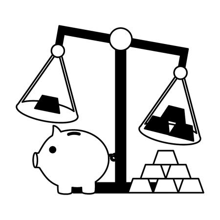piggy bank gold bars scale stock market vector illustration